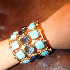 Gold Blue stones cuff bracelet